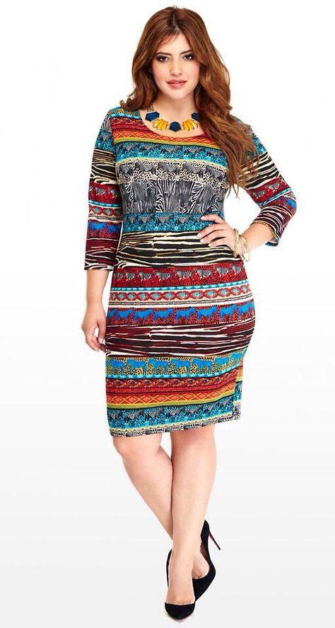 plus size multicolored striped tribal print dress Bohemian ...
