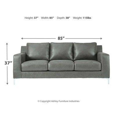 Ryler Sofa Charcoal Gray Signature Design By Ashley Ashley Furniture Sofas Sofa Faux Leather Sofa
