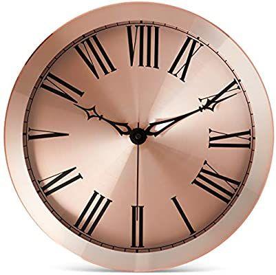 Amazon Com Bernhard Products Copper Wall Clock Large 14 Inch Metal Silent Non Ticking Quartz Battery Operated In 2020 Large Wall Clock Modern Large Clock Wall Clock