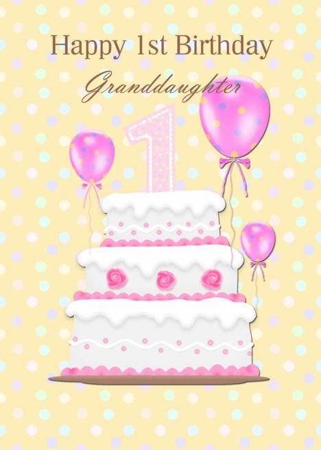 Granddaughter 1st Birthday Pink Cake And Balloons Card Ad Sponsored Birthday St Gra 1st Birthday Wishes Happy 1st Birthday Wishes Happy 2nd Birthday