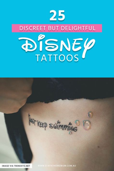 25 Discreet But Delightful Disney Tattoos - For decades, Disney has played a big part in the lives of children (and now adults) all over the wo - Simple Disney Tattoos, Disney Inspired Tattoos, Disney Tattoos Quotes, Tattoo Disney, Tattoos For Kids, Small Tattoos, Cool Tattoos, Awesome Tattoos, Tatoos