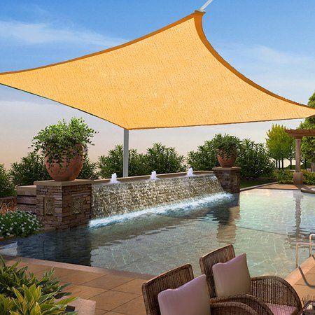 16x16 Square Sun Shade Sail Uv Blocking Outdoor Patio Lawn Garden Canopy Cover Walmart Com Patio Shade Patio Pergola Shade