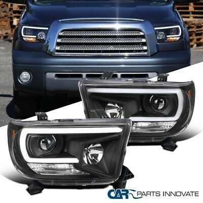For Toyota 07 13 Tundra 08 17 Sequoia Matte Black Projector Headlight W Led Drl Ebay In 2020 Projector Headlights Toyota Tundra Trd