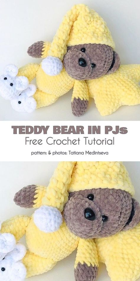 Goodnight Bear Free Crochet Patterns Teddy Bear in PJs . : Goodnight Bear Free Crochet Patterns Teddy Bear in PJs Free Crochet Pattern This is a wonderful toy, and a very fun project to take on. A quite easy pattern, good practice beginners. Easy Knitting Projects, Crochet Projects, Crochet Tutorials, Knitting Beginners, Crochet Videos, Goodnight Bear, Crochet Bear Patterns, Crochet Teddy Bears, Free Easy Crochet Patterns