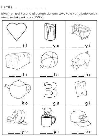 Latihan Kvkv 1 Kindergarten Reading Worksheets Kindergarten Reading Activities English Worksheets For Kindergarten