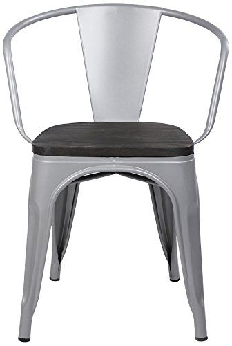 Gia Metal Dining Chairs With Back 1 Pack Wooden Seat Gray