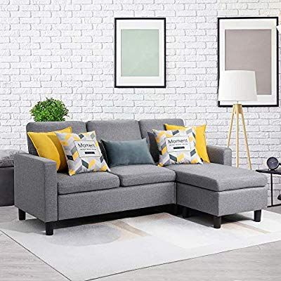 Amazon Com Walsunny Convertible Sectional Sofa Couch With Reversible Chaise L Shaped Couch With Modern Linen Fabric For Small Space G In 2020 L Shaped Couch Small Couches Living Room Grey Sofa Decor