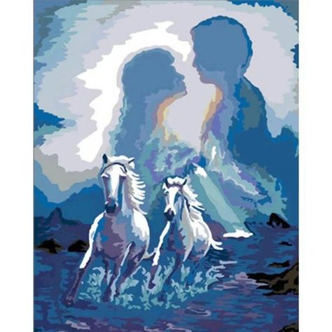 DIY oil painting by numbers Lover & Horses Frameless Paint by number On Canvas Wall Pictures for Liv