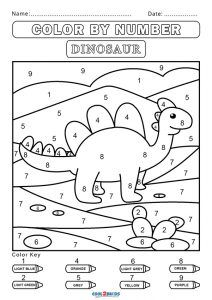 Coloring by Numbers Worksheets Lovely Free Color by Number Worksheets Dinosaur Worksheets, Number Worksheets Kindergarten, Kindergarten Coloring Pages, Kindergarten Colors, Preschool Colors, Numbers Preschool, Printable Preschool Worksheets, Kids Worksheets, Dinosaurs Preschool