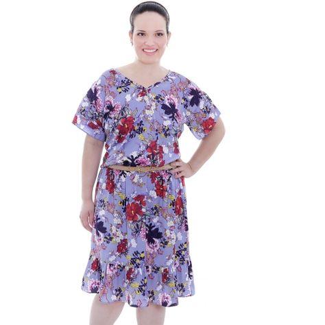 Vestido Longo Hortênsia Estampado Plus Size Preto