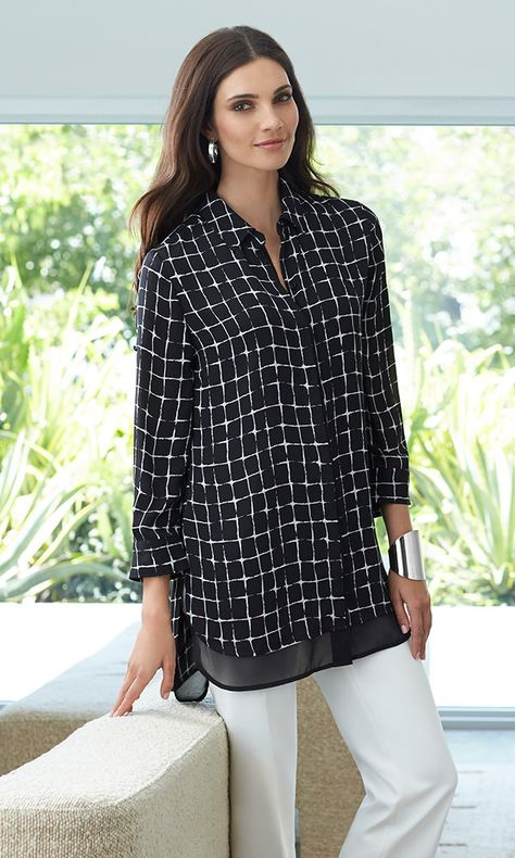Black Label - The Mini Windowpane Top: A soft take on our new favorite pattern, this chiffon shirt is equally chic lounging or out and about.