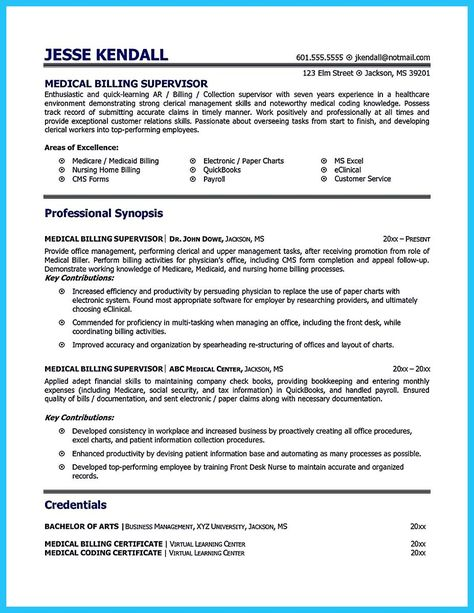 Cool Exciting Billing Specialist Resume That Brings The Job To You Medical Coder Resume Medical Biller Medical Billing And Coding