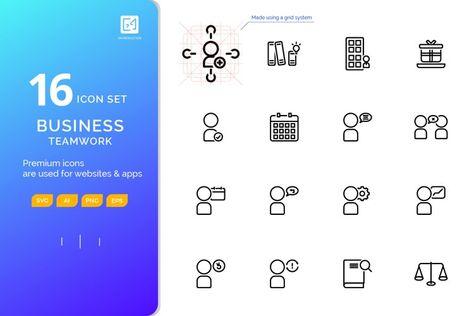 Icon set BUSINESS TEAMWORK outline style (127874)   Icons   Design Bundles