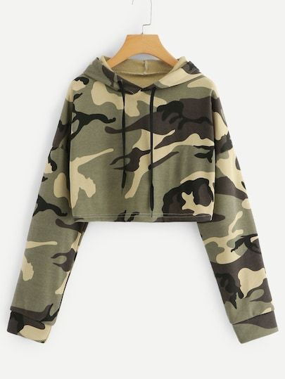 Shop Drop Shoulder Camo Print Hoodie at ROMWE, discover more fashion styles online.