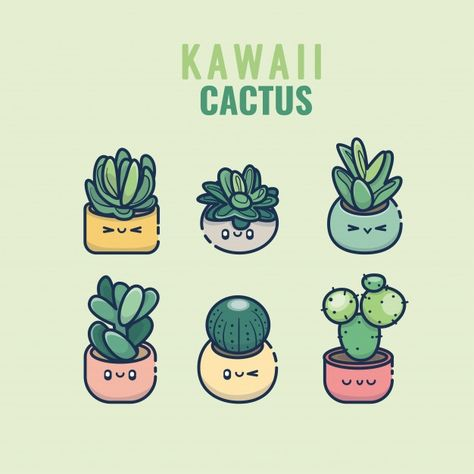 Kawaii Cactus And Succulent Hand Drawn Set In Pots Colorful Cute Plants