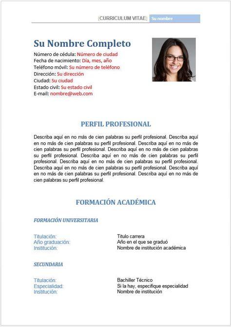 Formato hoja de vida - perfil profesional y datos   july cañon ...