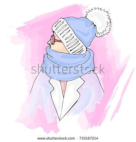 b6fb615b2d Winter outfit. Stylish fashion illustrations clothing  Cap