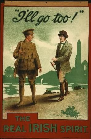 IRISH GUARDS ARMY SOLDIER RECRUITING WWI PROPAGANDA POSTER REAL CANVASART PRINT