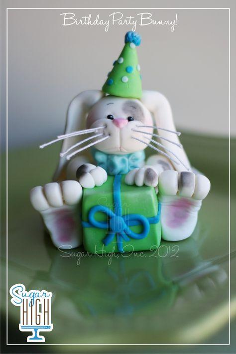 Fondant Bunny Birthday Party Cake Topper!