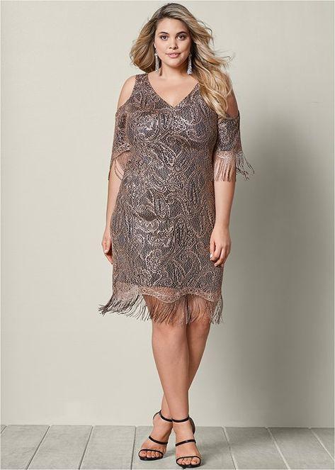 5ec639b0eb4 Venus Women s Plus Size Fringe Detail Lace Dress - Black