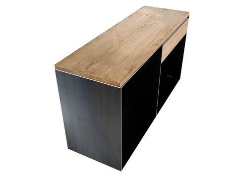 TV Metall Sideboard als Kaminholzaufbewahrung mit Schubfach aus