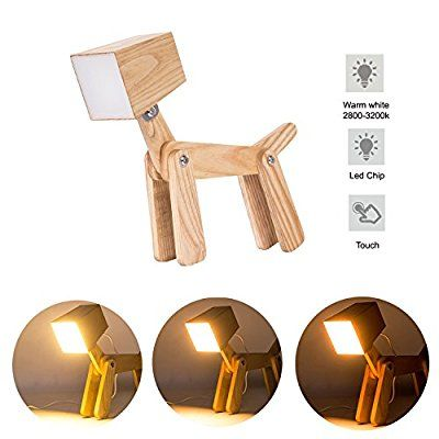 Hroome Cute Wooden Dog Design Adjustable Dimmable Bedside Table Lamp Touch Control 6w For Bedroom Amazon Co Uk Ki Dog Lamp Table Lamp Wood Wooden Table Lamps