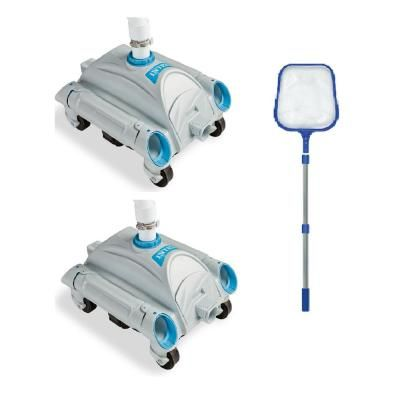 Intex Pressure Side Vacuum 2 Pack With 4 Ft Telescopic Pool Skimmer Pool Cleaner 173542 The Home Depot Pool Cleaning Intex Pool Cleaner Pool Skimmer