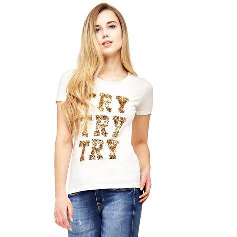 Guess T Shirt Damen Weiss Gold Grosse Xs In 2020 Shirt Damen T Shirt Damen Und Shirts