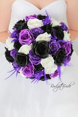 Purple Black And White Theme Wedding Flower Brides Bouquet With