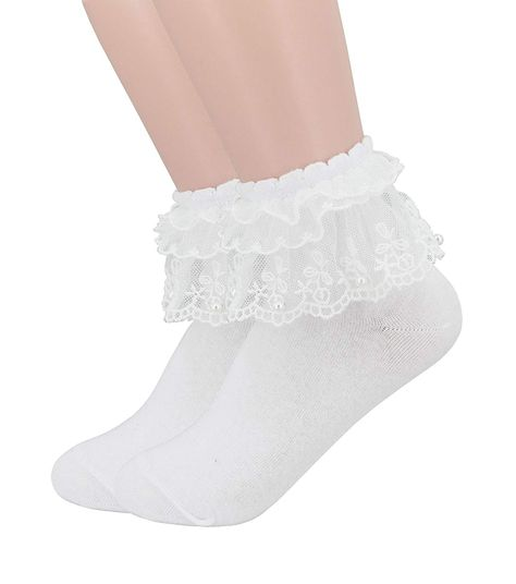 706445970 YJLSO Women Lace Ruffle Frilly Cotton Socks Princess Socks Ankle Socks
