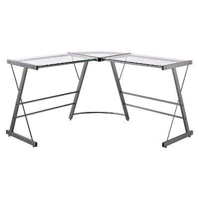 Remarkable Glass Desk In 2020 Computer Desk Grey L Shaped Desk