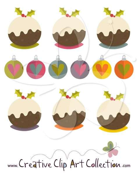 Christmas Puddings and Baubles Clip Art Clipart set from www.creativeclipartcollection.com. Unique and affordable clip art for personal and commercial use. #christmas #clipart #illustration #craft #scrapbooking #pudding