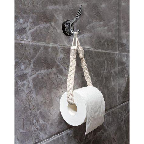2 Macrame String Holder - Handmade Toilet Roll Or Curtain Holder