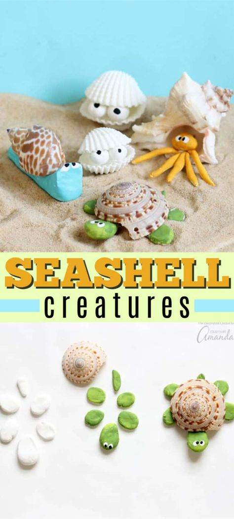 These sea shell creatures are the perfect beach craft to tackle after collecting shells from your latest beach vacation. Make your own unique creature! #seashellcrafts #beachcrafts #kidscrafts #craftsforkids #clay #animalcrafts #seacreatures #beachcraftsforkids