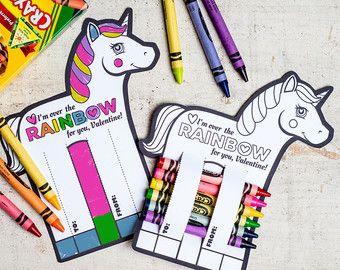 Rainbow Unicorn Valentines Printable DIY Instant by KudzuMonster