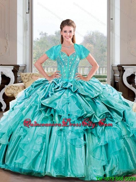 ff0a120ac1a Elegant Sweetheart Beading and Ruffles Turquoise Quinceanera Dresses for  2015 Spring