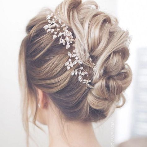 25 Updo Wedding Hairstyles for Long Hair, We love an ethereal, romantic updo more than just about anything for a wedding, and there are stunning accents to really amp up an updo, such as spark..., Best Wedding Style #updosweddinghair
