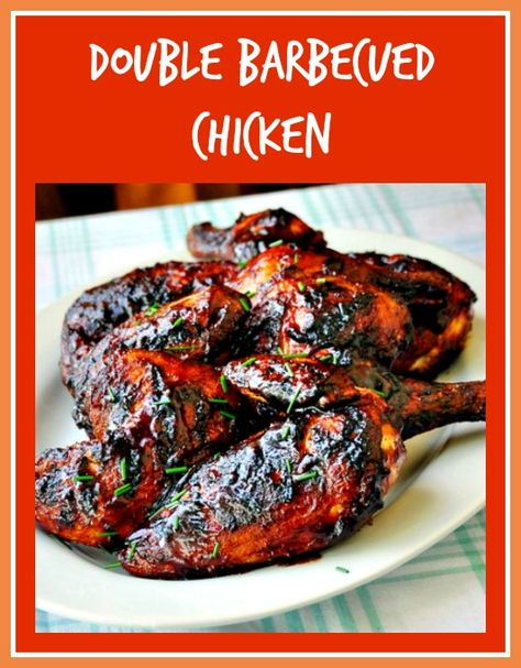 Double Barbecued Chicken - If you're backyard grilling this weekend you have to try this amazing chicken that uses both a dry rub and a very flavorful homemade BBQ sauce.