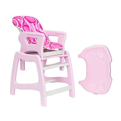 Badger Basket Pink High Chair With Play Table Conversion Pink