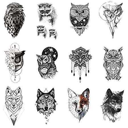 Amazon Com Wyuen 12 Pcs Lot Wolf Temporary Tattoo Sticker For Women Men Fashion Body Art Adults Waterproof Hand Fak Animal Tattoo Fake Tatoos Tattoo Stickers
