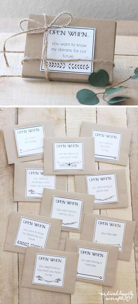 "Printable ""Open When"" Envelope Labels for Long Distance Relationships"