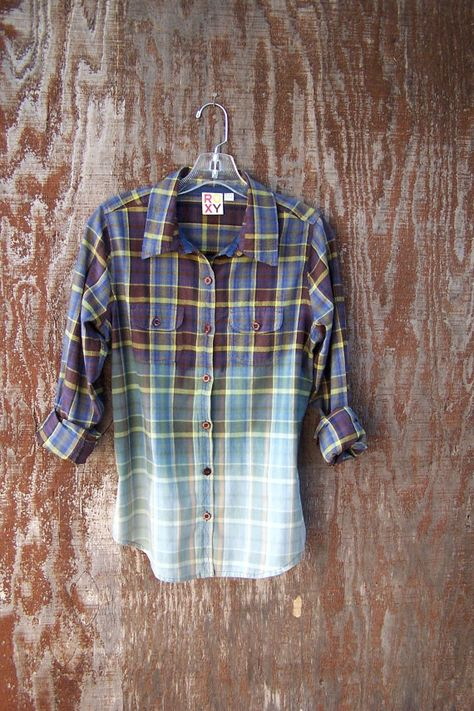 Upcycled, half bleached flannel shirt blouse bleach dyed ROXY button up super soft grunge shirt juniors womens