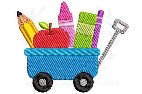 Craft Wagon Back to School Embroidery Design (888203)   Designs   Design Bundles