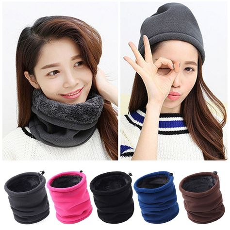 Fashion Fleece Thick Neck Warmer Hat Scarf Scarves Balaclava Snood Winter Warm