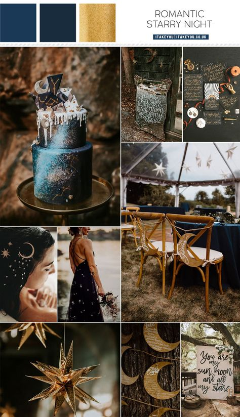 celestial wedding theme, moon and stars wedding wedding theme, moon and stars wedding ideas - Wedding interests Galaxy Wedding, Starry Night Wedding, Moon Wedding, Celestial Wedding, Dream Wedding, New Years Wedding, Gold Color Palettes, Gold Palette, Wedding Color Combinations