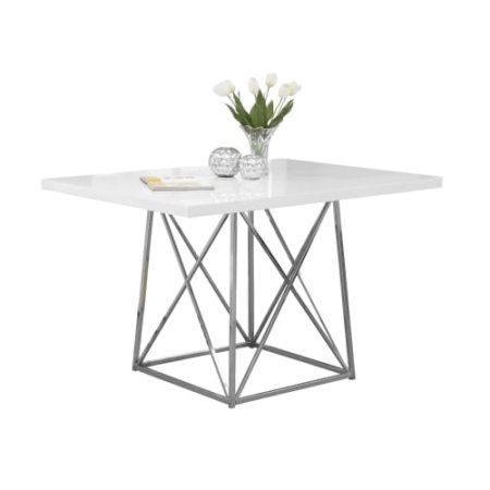 Monarch Dining Table 36 X 48 White Glossy Chrome Metal