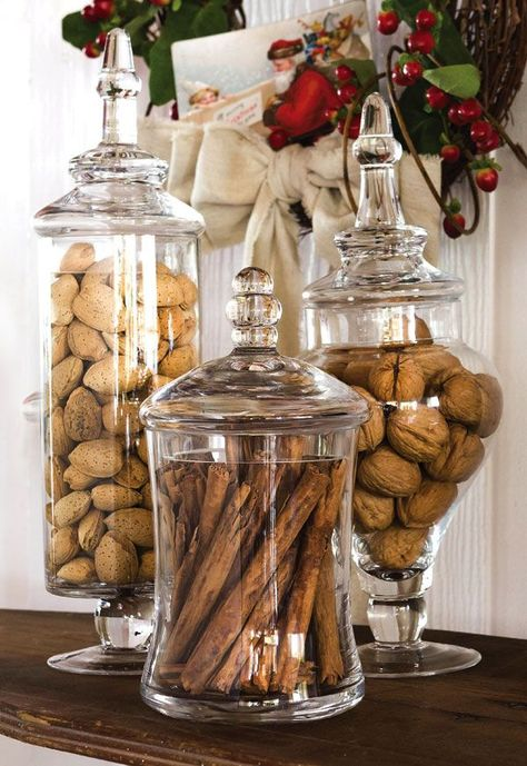 kitchen island decor Our Apothecary Jar Set makes a lovely show of nuts, cinnamon sticks and ca. Apothecary Jars Kitchen, Kitchen Jars, Kitchen Pantry, Kitchen Items, Kitchen Island Decor, Kitchen Island Centerpiece, Kitchen Organisation, Organization, Glass Bathroom