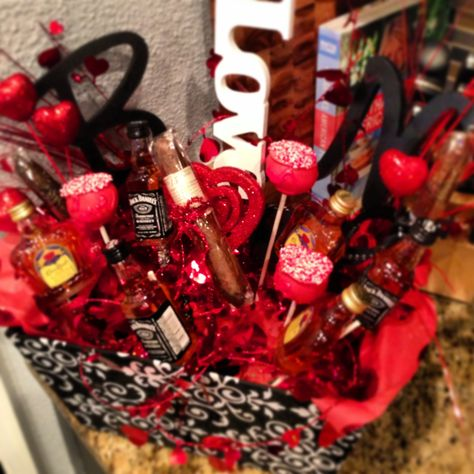 """Valentines day gift for him! """"Man bouquet"""" - mini liquor bottles, cigars, cakepops, personalized initials and hot tamales and more!!"""