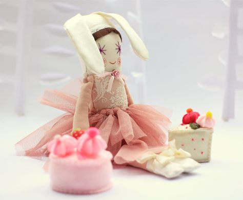 Pink Bunny Girl Handmade Stuffed Doll Soft by thedollsunique,