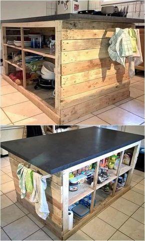 15 Creative Gorgeous Wood Pallet Kitchen Island Ideas